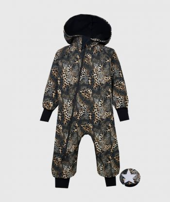 Waterproof Softshell Overall Comfy Animal Print Jumpsuit