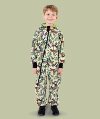 Waterproof Softshell Overall Comfy Beige Wild Animals Jumpsuit