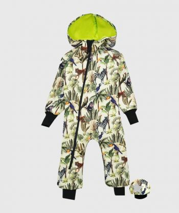 Waterproof Softshell Overall Comfy Beige Wild Animals Jumpsuit