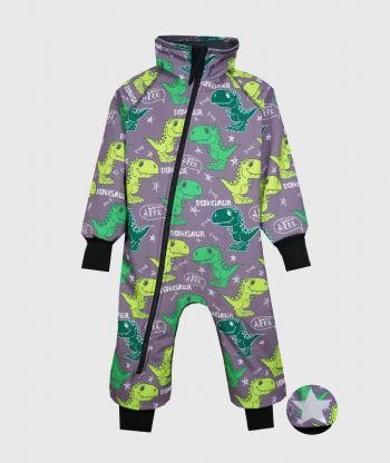 Waterproof Softshell Overall Comfy Dino Grey Bodysuit