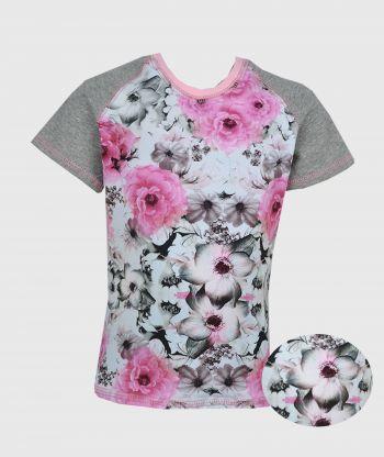 T-shirt Flowers Grey